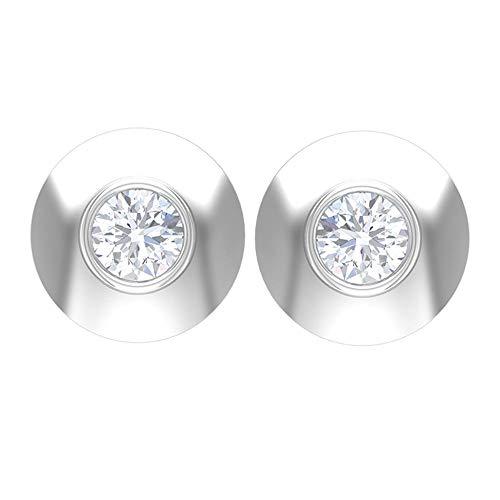 Pendientes de tuerca de diamante con bisel de 1/4 CT (calidad AAA), parte trasera de rosca, Metal, Diamond,