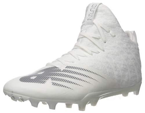 New Balance Men's Burn X2 Mid-Cut Lacrosse Shoe, WHITE/GREY, 10.5 2E US