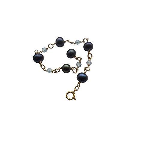 classement un comparer Bracelet Black Friday Deal en Black Pearl et Topaze Bleu Ciel