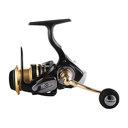 BAIAA Carrete Pesca Spinning, Carrete Pesca Suave Ultraligero Y Ligero, Estable Equilibrado, Copa Alambre Metal Dos Colores, para Pesca Agua Dulce Y Salada (XG5000)