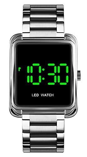 Damen Uhr Rosegold Digital Edelstahl Herren Armbanduhr Frauen Elegant Business Datum LED Wasserdicht Mode Silber Schwarz Gold Uhren für Männer