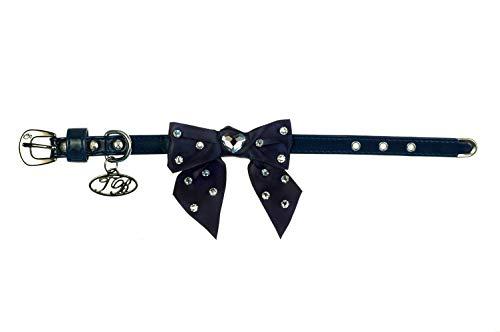 Trilly tutti Brilli Lia Collier pour Chien avec nœud décoré Swarovski Bleu Verni 35 cm