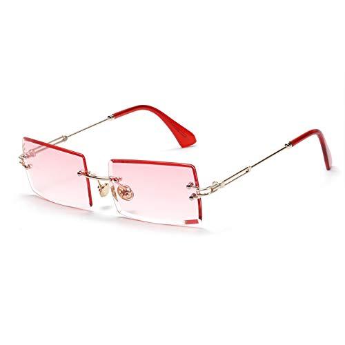 Gafas de sol ovaladas con montura ultra pequeña para mujeres Hombres Gafas de sol sin montura retro con lente transparente