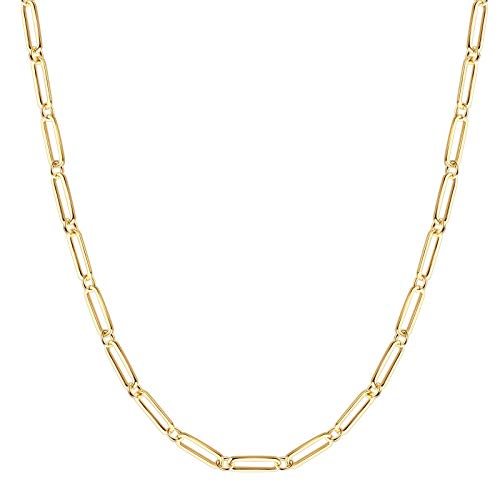 BOUTIQUELOVIN Women Paperclip Chain Necklace, 14K Gold Plated Link Chain Choker for Women