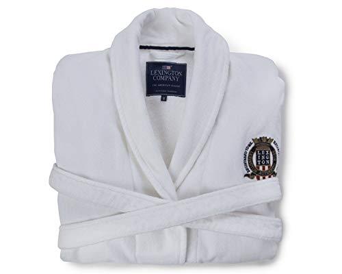 Lexington Company Bademantel glatt mit Wappen Large weiß