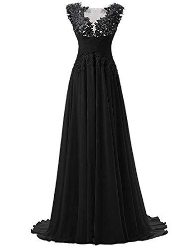 Abendkleider Lang A-Linie Ballkleider Brautjungfernkleider Spitzen Hochzeitskleid Empire Festkleider Schwarz 46