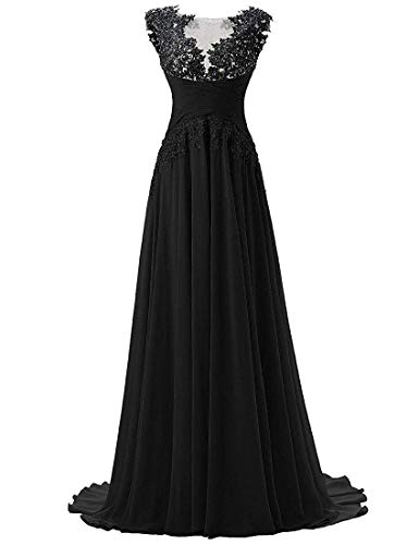 Abendkleider Lang A-Linie Ballkleider Brautjungfernkleider Spitzen Hochzeitskleid Empire Festkleider Schwarz 52