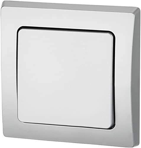 UP - Interruptor de conmutación IP44 para entornos húmedos (todo en uno, marco + inserto + cubierta + anillo de silicona, C1), color plateado
