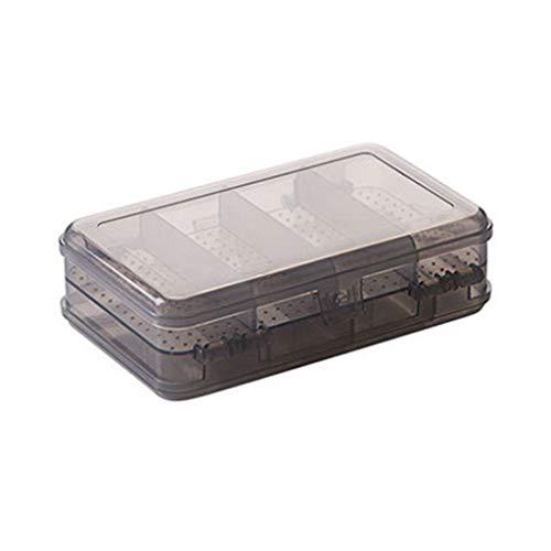 DIPOLA 10 Doppel-Schmuck-Aufbewahrungsbox Kunststoff-Aufbewahrungsbox Desktop-Ohrringe (braun, schwarz, transparent) zweischichtige 10 Schmuck-Aufbewahrungsbox