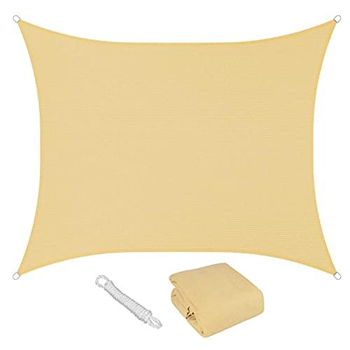 YZU Vela De Sombra Rectangular, Impermeable Respirable 95% UV Protección, Tela Oxford Material con Accesorios Toldo para Exterior Jardín Terraza Piscina, Beige