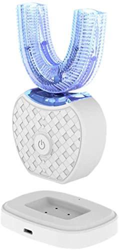 Automatische Tandenborstel 360 ?? Ultrasound, Cleaner Oral, tandenborstel elektrische Tanden Van Type U Intelligent Mode 4 Siliconen, Base Load Inductieve Wireless, White