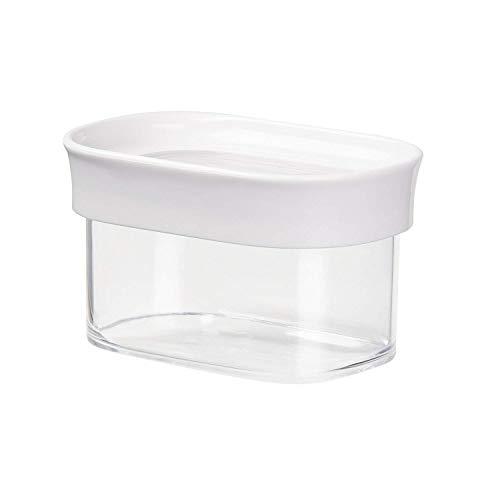 Emsa 513554 Stapelbare Vorratsdose für Trockenvorräte, 100 % Keimfrei, Volumen 0.18 Liter, Rechteckig, Weiß/Transparent, Optima