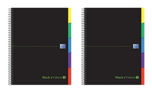 Oxford Black N'Colours, Cuadernos A4+, Microperforado, 5 pestañas, Tapa Extradura, 100 Hojas 90 gr, Cuadrícula 5 x 5, Pack 2 libretas.