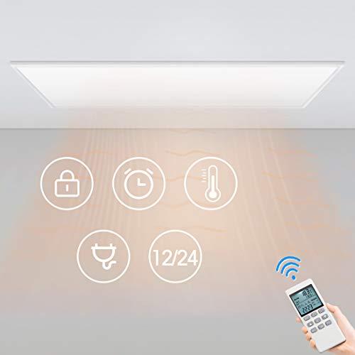 Byecold 450W Infrarotheizung Deckenheizung mit Eingebautem Thermostat Fernbedienung Infrarot Heizung Deckenmontage Elektroheizkörper Heizplatte Heizkörper Decke Überhitzungsschutz Carbon Crystal