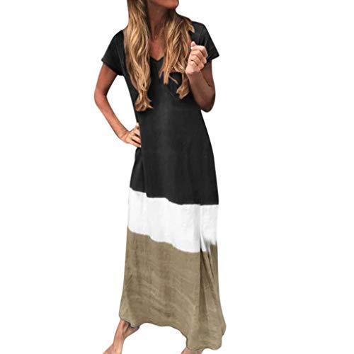 Lulupi Shirtkleid Damen Sommer Lang Freizeitkleid Lang V-Ausschnitt Kurzarm Oversize Farbverlauf Kleid Strandkleid Kleider Trägerkleid Maxikleid Große Größen