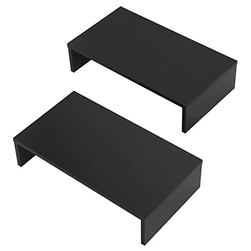 FITUEYES Elevador del Monitor de Madera 2 Unidades Color Negro Soporte para Monitor L42.5xW23.5xH10cm DT104202WB