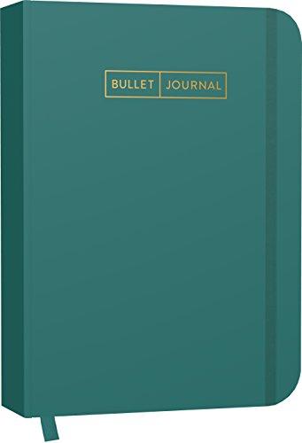 """Bullet Journal """"Greenery"""" 05: Mit Punkteraster, Seiten für Index, Key und Future Log sowie Lesebändchen, praktischem Verschlussband und Innentasche"""