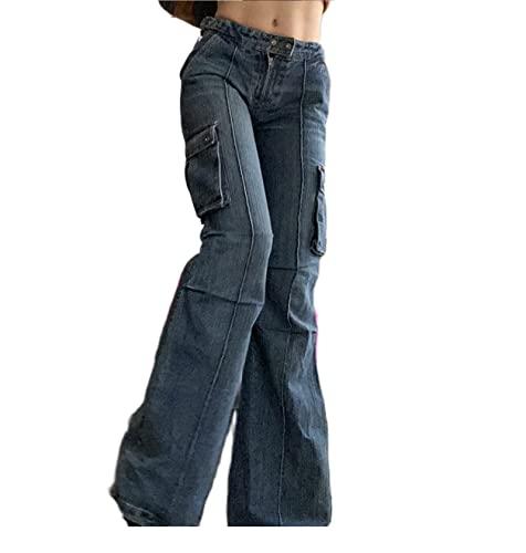 Mujeres Y2K Jeans holgados de talle alto recto pierna ancha pantalones de mezclilla vintage suelta E-Girl flare lápiz pantalones Streetwear, Q-azul., S