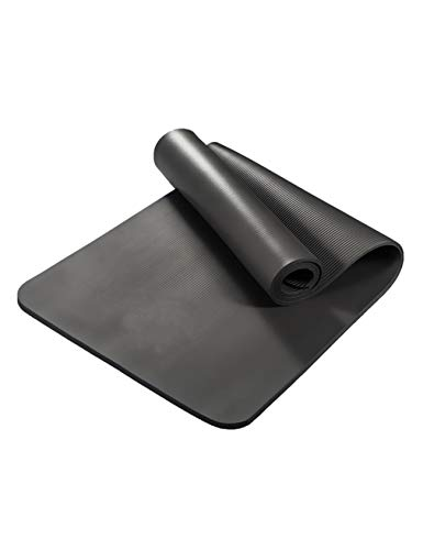 Letuwj Thick Non Slip Yoga Exercise Mat for Home Gym with Carrying Strap Black 72x24x0.4inch