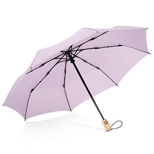 DORRISO Paraguas Plegable Mujer Apertura y Cierre Automático Paraguas Plegable Compacto Anti- Viento y Nieve y hidro-Repelente Duradero Paraguas de Viaje Púrpura