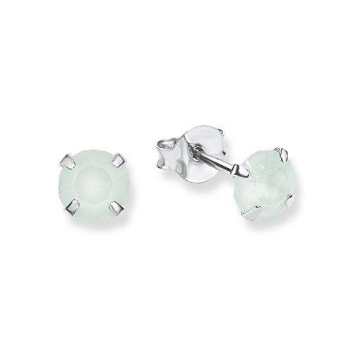s.Oliver Pendientes infantiles Swarovski Elements 5 mm plata 925 rodiada cristal verde 2012564