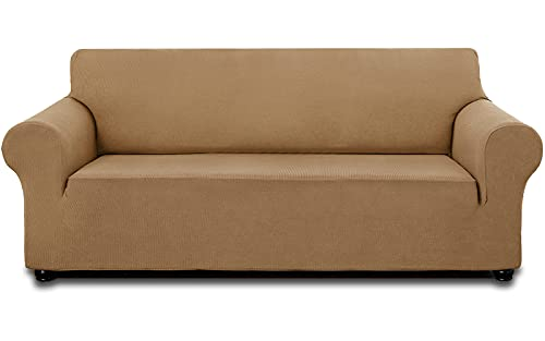 """AZAMIA Stretch Sofa Slipcover (78""""-95"""") for 3 Cushion Sofa, Oversized Water-Repellent Non-Slip Couch Sofa Cover Furniture Cover with Non-Skid Foam and Elastic Bottom for Kids Pets (Light Brown)"""