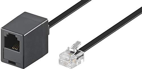 WireThinX Telefonverlängerung Modular Verlängerungskabel (4-polig, RJ11 Stecker auf RJ11 Kupplung) schwarz 3 m