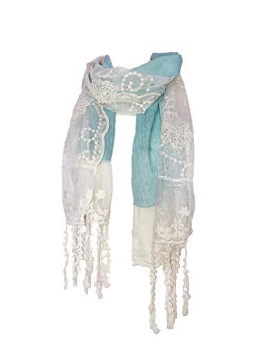 Pamper Yourself Now Hellblau mit Creme Flower Lace mit Fransen Schal- Light blue with cream flower lace trim with tassels scarf