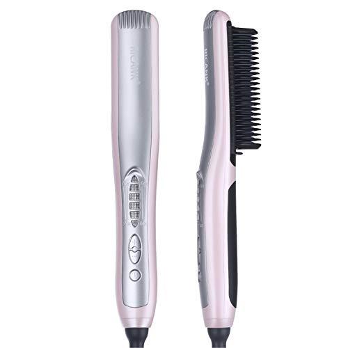 Hair Straightening Brush, RICANK Professional Hair Straightener Silky Frizz-Free Portable Ceramic Heating Straightening Irons Brush Anti Scald, Static Detangling Hot-Air Electric Hair Brush