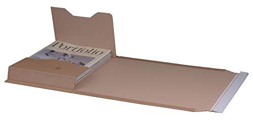 KK Verpackungen® Höhenvariable Versandverpackung für Büchersendungen   25 Stück, DIN B4, 378x295x80mm   Buchverpackung, Wickelverpackung mit Selbstklebeverschluss & Aufreißfaden
