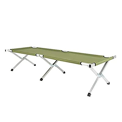 VINGLI Folding Camping Cot,Outdoor Portable Camp Bed, Hiking Army Military Style Sleeping Cots with Carry Bag
