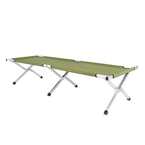 SSLine Portable Camping Bed Folding Lightweight Camp Cot with Carry Bag Outdoor Military Army Cots for Adults Hiking Hunting Single Sleeping Bed Up to 250lbs