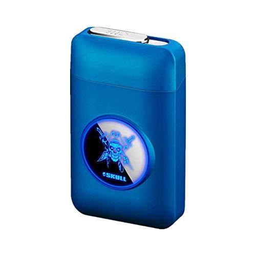 Zigarettenetui mit Feuerzeug, LED Grafik-Zigaretten-Etui, 2-in-1 Portable Elektronisches Lighter Flammenlose Aufladbar Zigarettenschachtel, Elegante Entwurf Feuerzeug Aufladbar Kopf blau