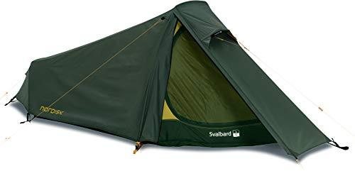 Nordisk - Svalbard 1 SI vielseitiges Zelt, besonders leicht und windresistent, reißfester Nylon Rip Stop mit Silikon Beschichtung, Apsis, 1-Personenzelt, Dunkelgrün/Forrest Green