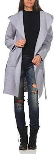 Malito Damen Wollmantel kurz | Boucle Wool | Trenchcoat mit Gürtel | weicher Dufflecoat | Parka - Jacke 9320 (Silber-blau)