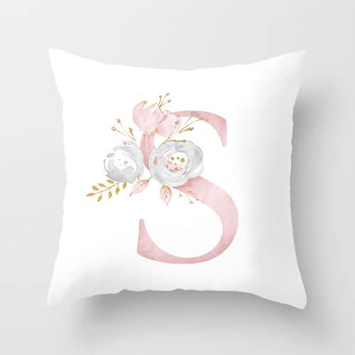 Funda de almohada simple y elegante de 45 × 45 cm, funda de cojín impresa en color sólido, que contiene 26 letras en inglés, funda de cojín de sofá, adecuada para la decoración del hogar y la oficina