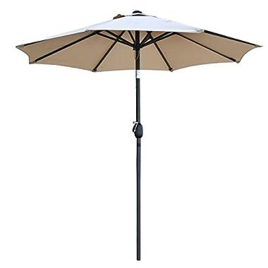 Snail 7'2 Tilting Small Patio Umbrella Sunshade 1000 Hours Fade-resistant Outdoor Porch Table Umbrella with Push Button Tilt, 8 Ribs, Beige