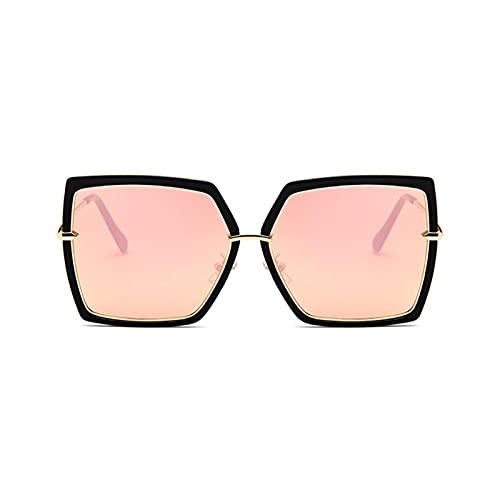 FDNFG Occhiali da Sole 5 Colori in Lega Occhiali da Sole sfumati Donne Gatto Occhio Quadrato Metallo Wrap Occhiali Specchio uv400 retrò Signore Occhiali da Sole (Lenses Color : Black Pink)
