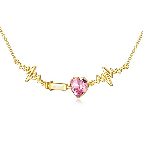 Nurse Gift, Silver Love Heart Necklace with Pink Crystal, 18K Gold Plated, Nurse Necklace for Women Gift for Doctors, 45+5cm Chain Extendable