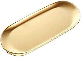 boweiwj Stainless Steel Towel Tray Storage Tray Tray Dish Plate Tea Tray Fruit Trays Cosmetics Jewelry Organizer Gold Oval...