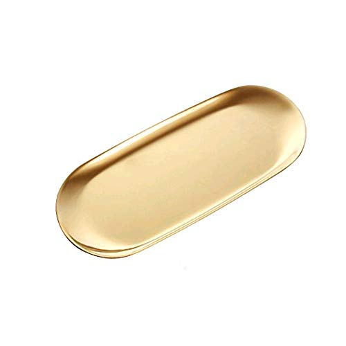boweiwj Stainless Steel Towel Tray Storage Tray Tray Dish Plate Tea Tray Fruit Trays Cosmetics Jewelry Organizer Gold Oval Tray 9in
