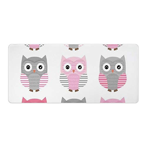 Extended Gaming Mouse Pad with Stitched Edges Waterproof Large Keyboard Mat Non-Slip Rubber Base Owl Nocturnal Exotic Mystic Forest Night Animals Illustration Desk Pad for Gamer Office 16x35 Inch