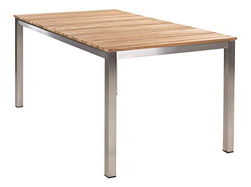 HPI Home Product Import GmbH Gartentisch Terrassentisch Balkontisch | 160x90 cm | Grau-Braun | Edelstahl | Teakholz