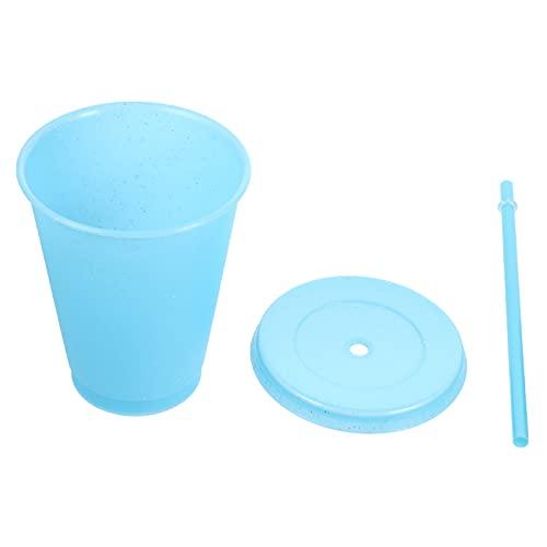Hemoton Tazas para Niños con Paja Y Tapas Planas Botella de Almacenamiento para Vasos de Agua para Niños Pequeños Recipiente de Leche Azul Cielo