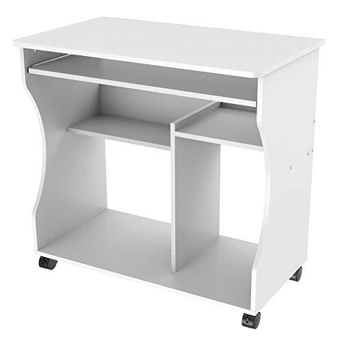 Yaheetech mobiler Schreibtisch Computertisch Arbeitstisch PC-Tisch Büromöbel mit 4 Ablageflächen Weiß