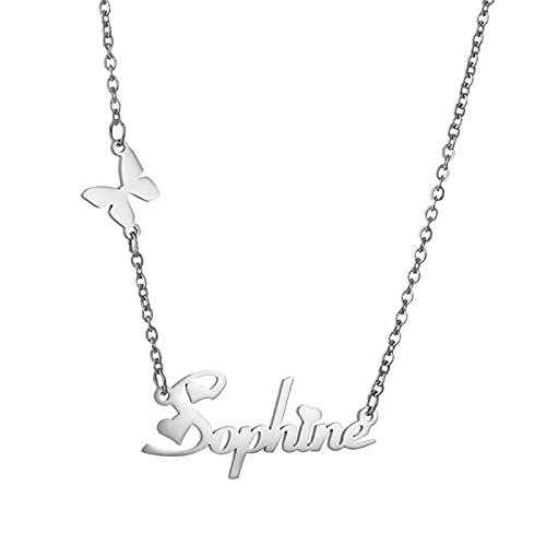 Collar con nombre personalizado collar de acero inoxidable collar con nombre de promesa de clavícula aniversario para mujer(Plata 22)
