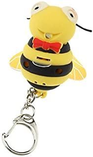 ODETOJOY Cute Bee Keychain with Flashlight LED Voice Sound 3D Cartoon Animal Keyrings For Kids D Key Holders for Children