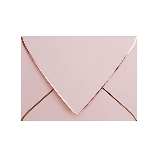 A7 Pink Envelopes With Rose Gold Border 5 x 7 - V flap , Quick Self Seal , For 5x7 Cards| Perfect for Weddings, Invitations, Photos, Graduation, Baby Shower (Pink-rose golden border)