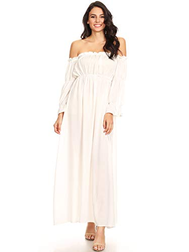 Anna-Kaci Womens Off Shoulder Chemise Renaissance Dress, White, Small