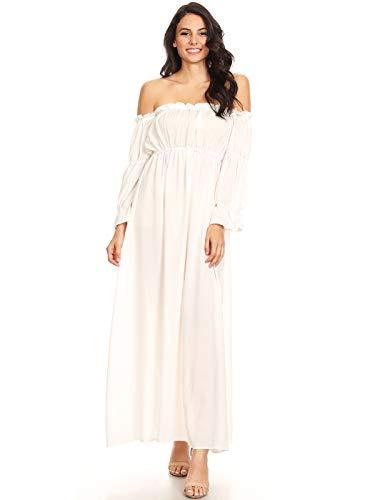 ANNA-KACI Damen Vintage Renaissance Mittelalter Kostüm Weiß Langarm Schluterfrei Unterkleid Maxi Kleid,Weiß,M